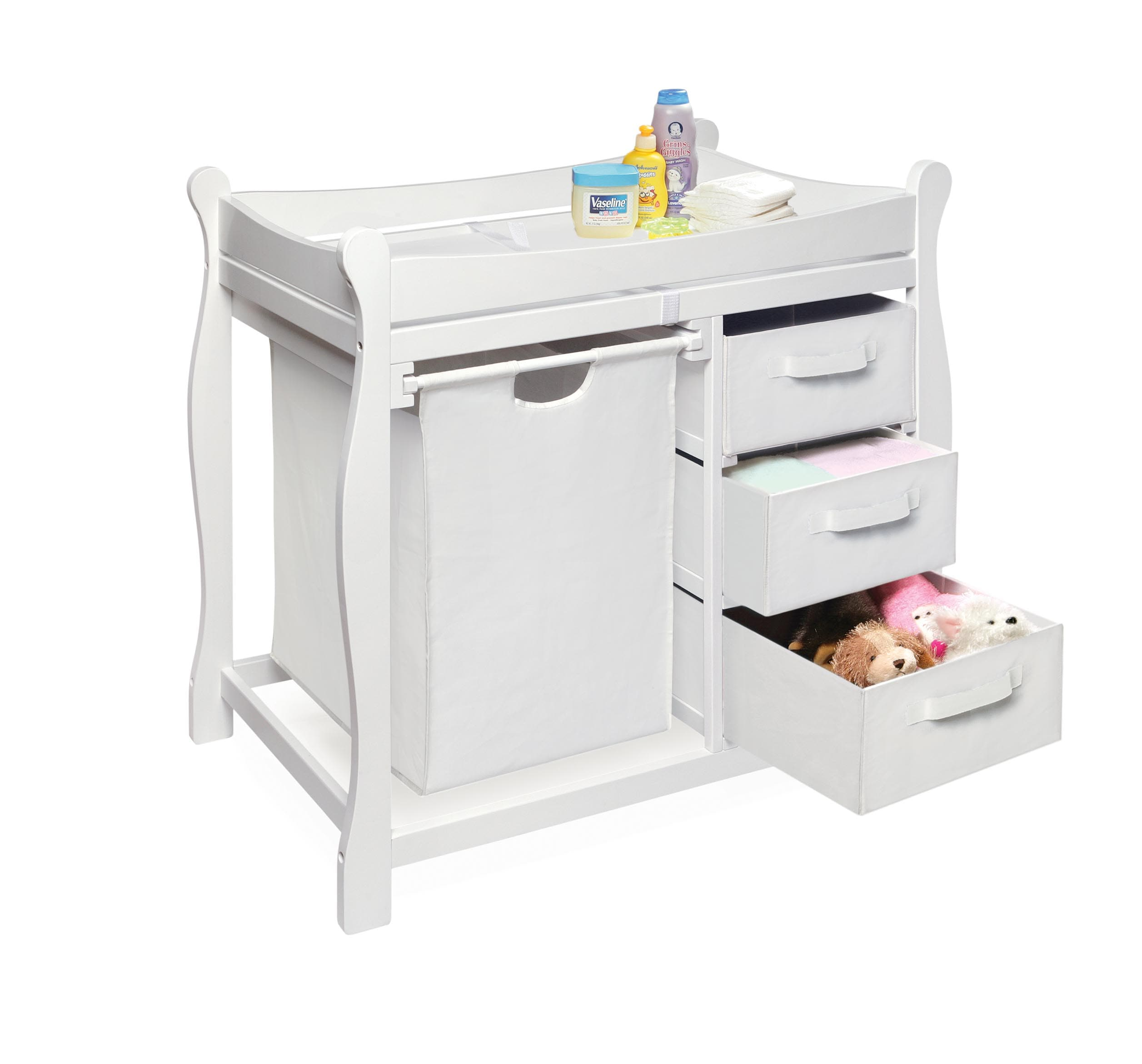 White Changing Table with Hamper and Three Baskets - Thumbnail 1