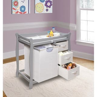 Sleigh Style Baby Changing Table with Hamper and Three Baskets