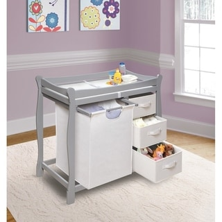 White Changing Table With Hamper And Three Baskets
