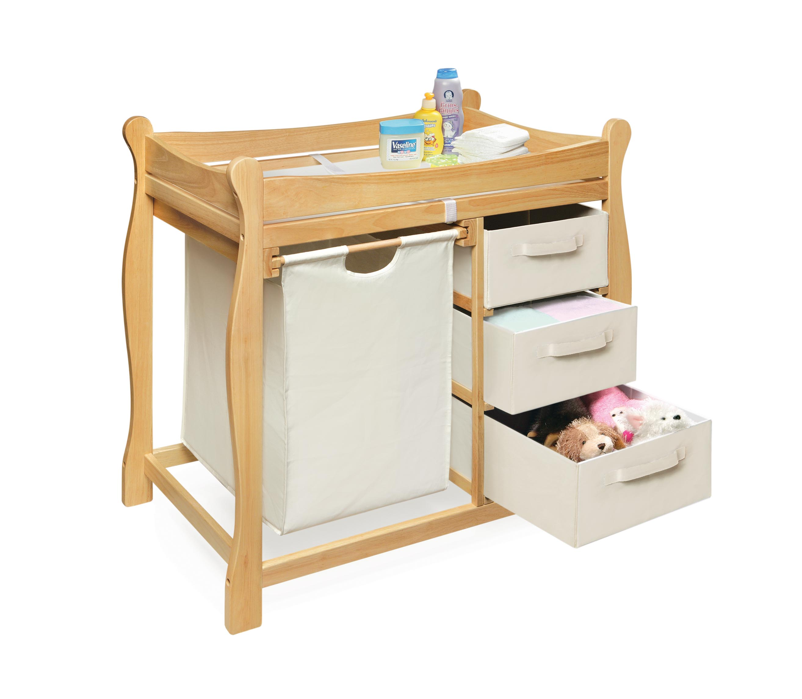 Charmant Shop Natural Changing Table With Hamper And Three Baskets   Free Shipping  Today   Overstock.com   3821189