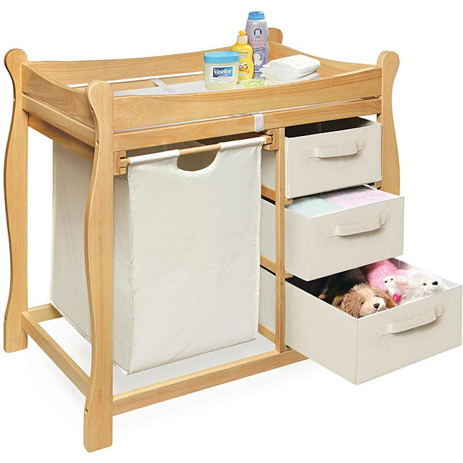 Genial Natural Changing Table With Hamper And Three Baskets