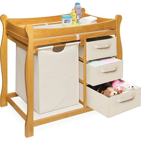 Honey Changing Table with Hamper and Three Baskets