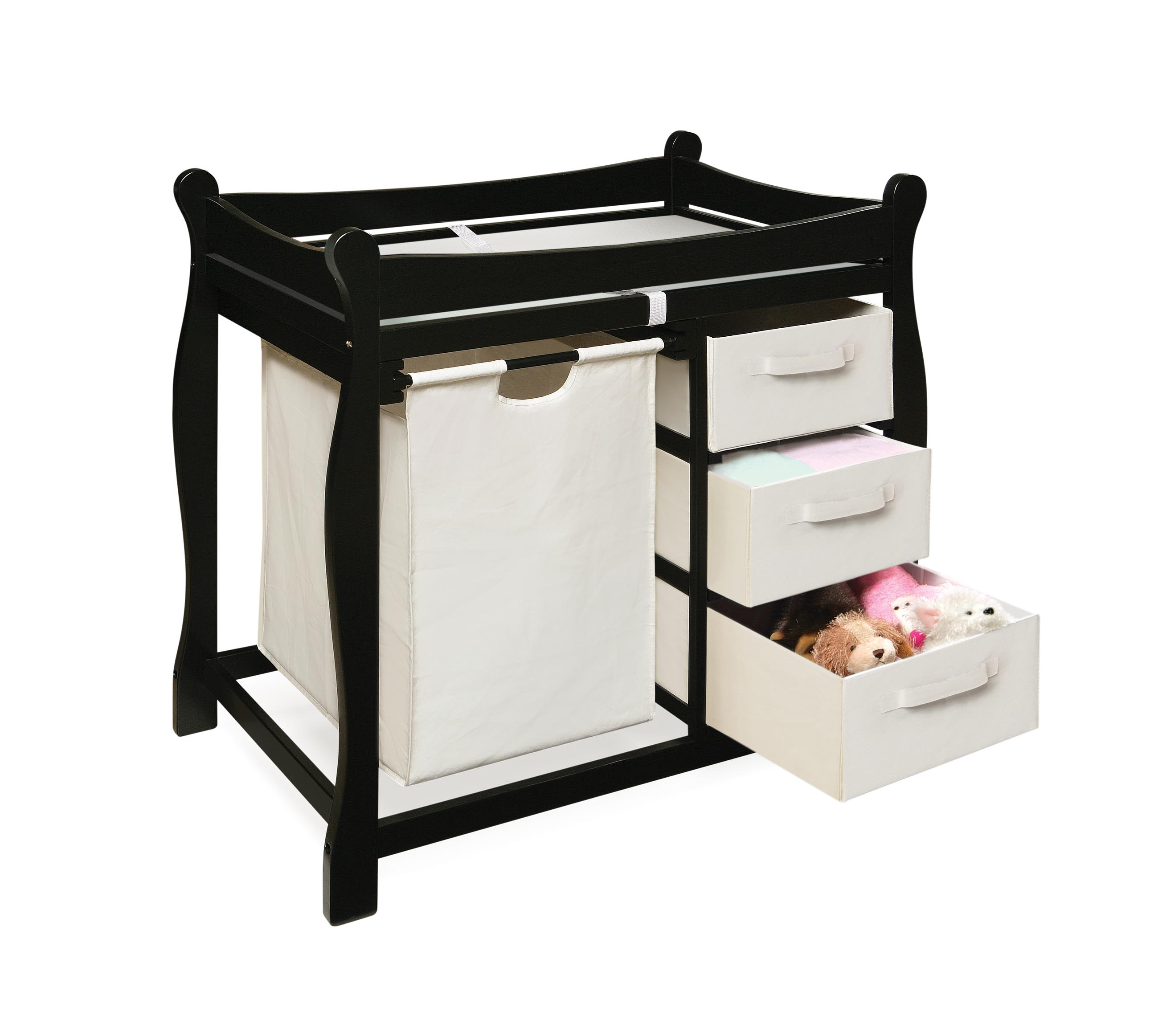 Black Changing Table with Hamper and Three Baskets - Thumbnail 1