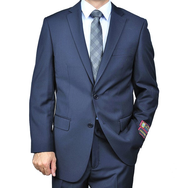 Mens 2-button Solid Navy Suit