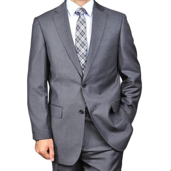 Men's Solid Charcoal Cotton 2-button Suit
