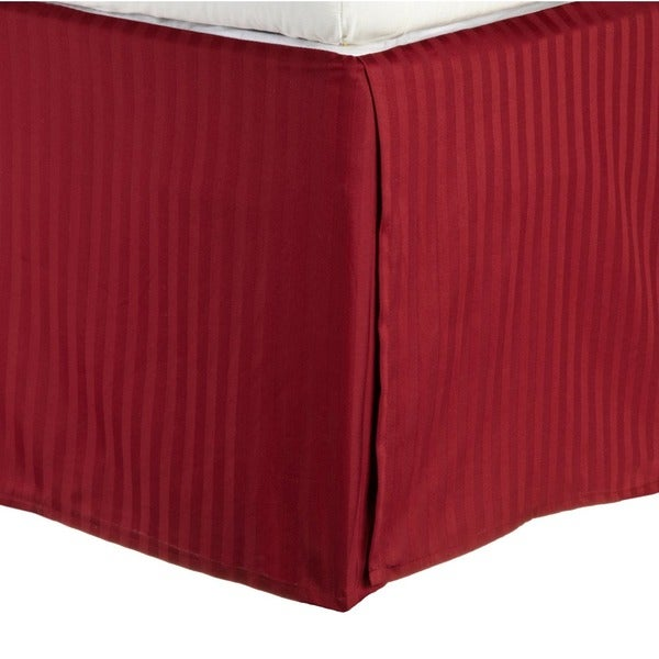 Simple Elegance Egyptian Cotton 300 Thread Count 15 inch Drop Striped Flat Bedskirt