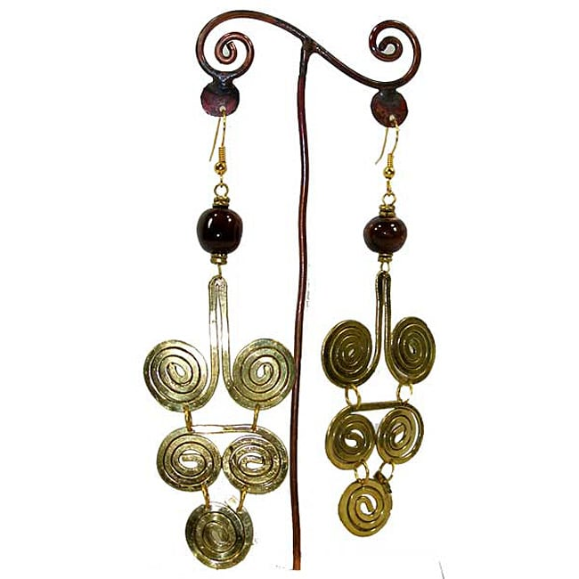 Brass Dark Bead and Many Swirls #3 Earrings (Kenya) - Thumbnail 0