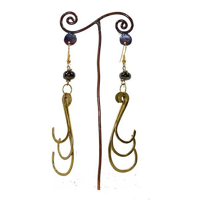 Brass Dark Bead and Triple Hook #8 Earrings (Kenya)