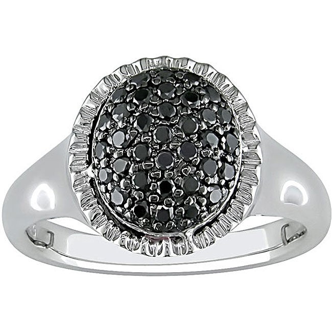 Miadora Sterling Silver Pave-set 1/3ct TDW Black Diamond Ring