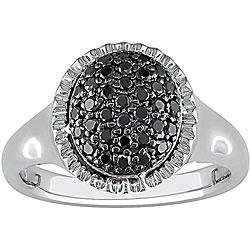 Miadora Sterling Silver Pave-set 1/3ct TDW Black Diamond Ring
