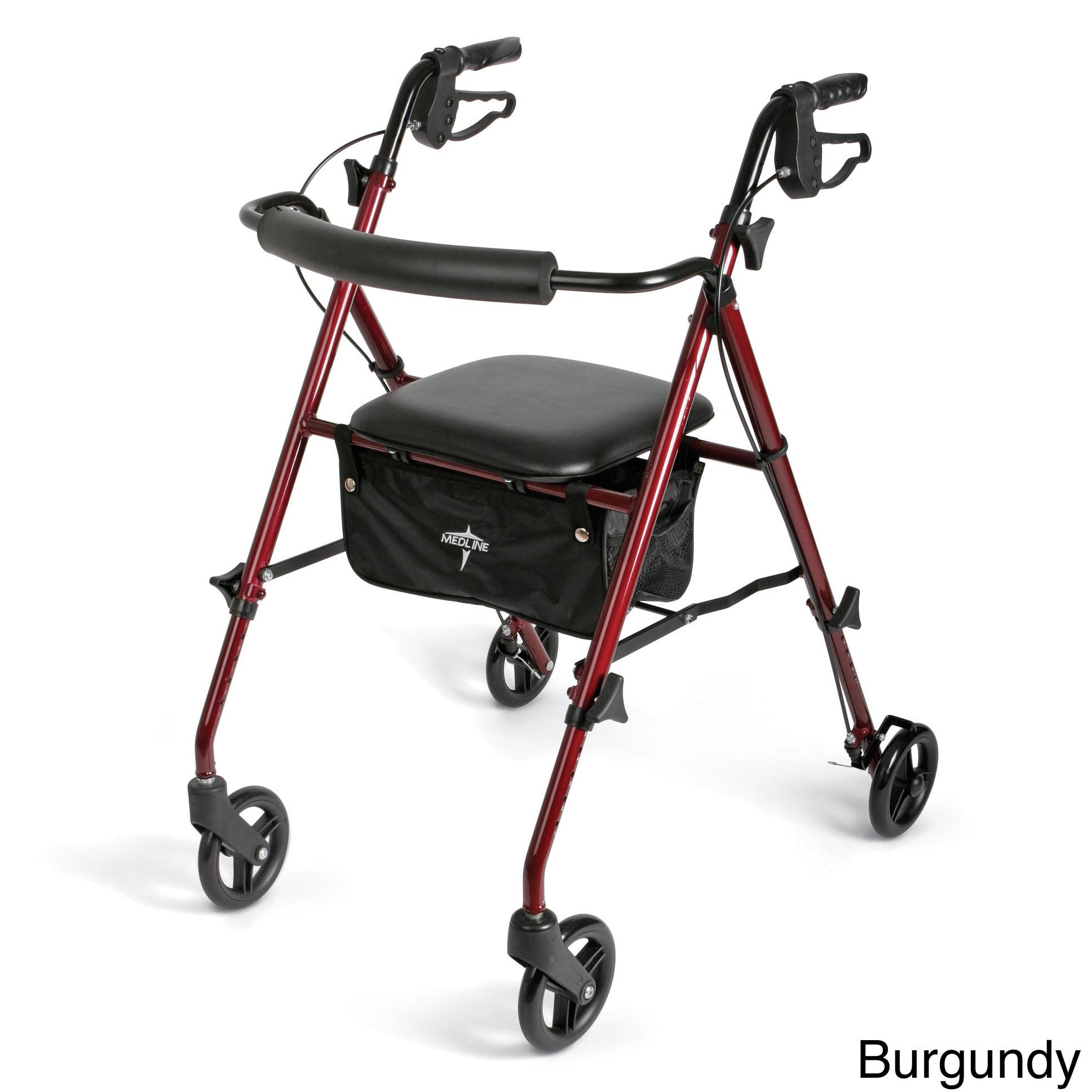 medline Super Lightweight Rollator/Walker (Burgundy (Red))