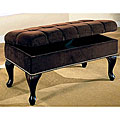 Dark Brown Microfiber Tufted Storage Bench