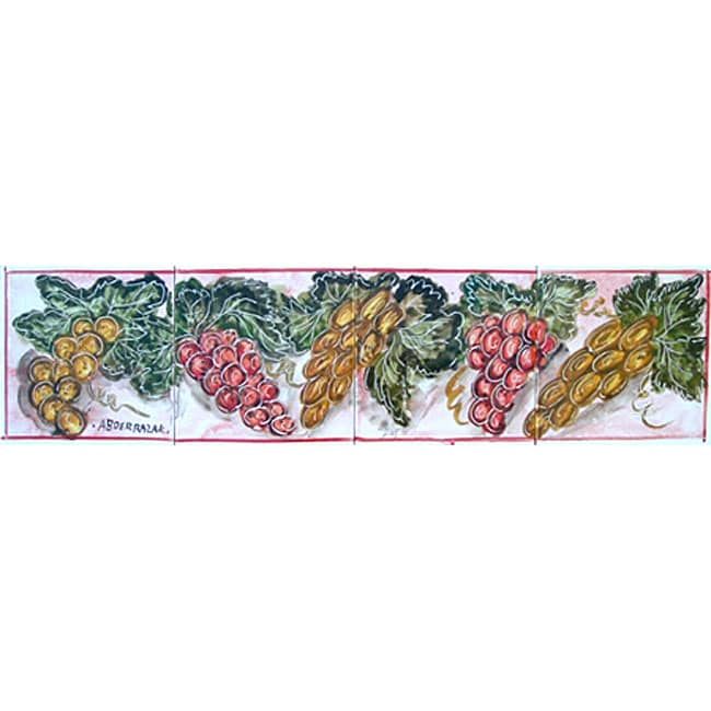 mosaic grapes theme 4 tile ceramic wall mural free