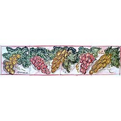 Mosaic 'Grapes Theme' 4-tile Ceramic Wall Mural