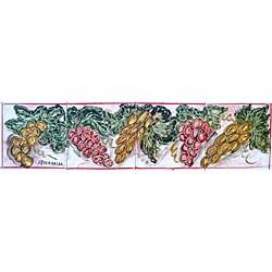 Mosaic 'Grapes Theme' 4-tile Ceramic Wall Mural