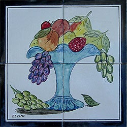 Mosaic 'Fruit Backsplash' 4-tile Ceramic Wall Mural