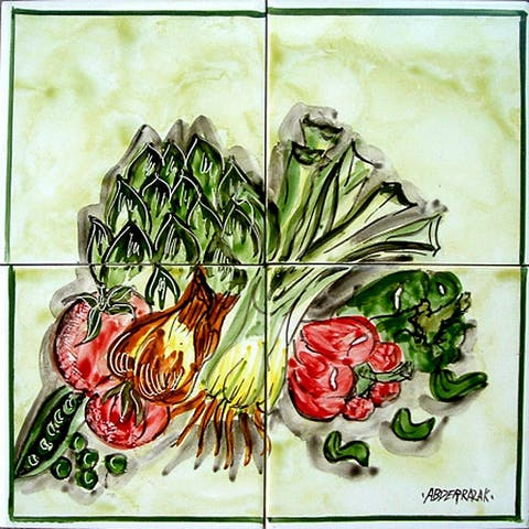 Mosaic Kitchen Backsplash Produce' 4 Ceramic Tile Wall Mural