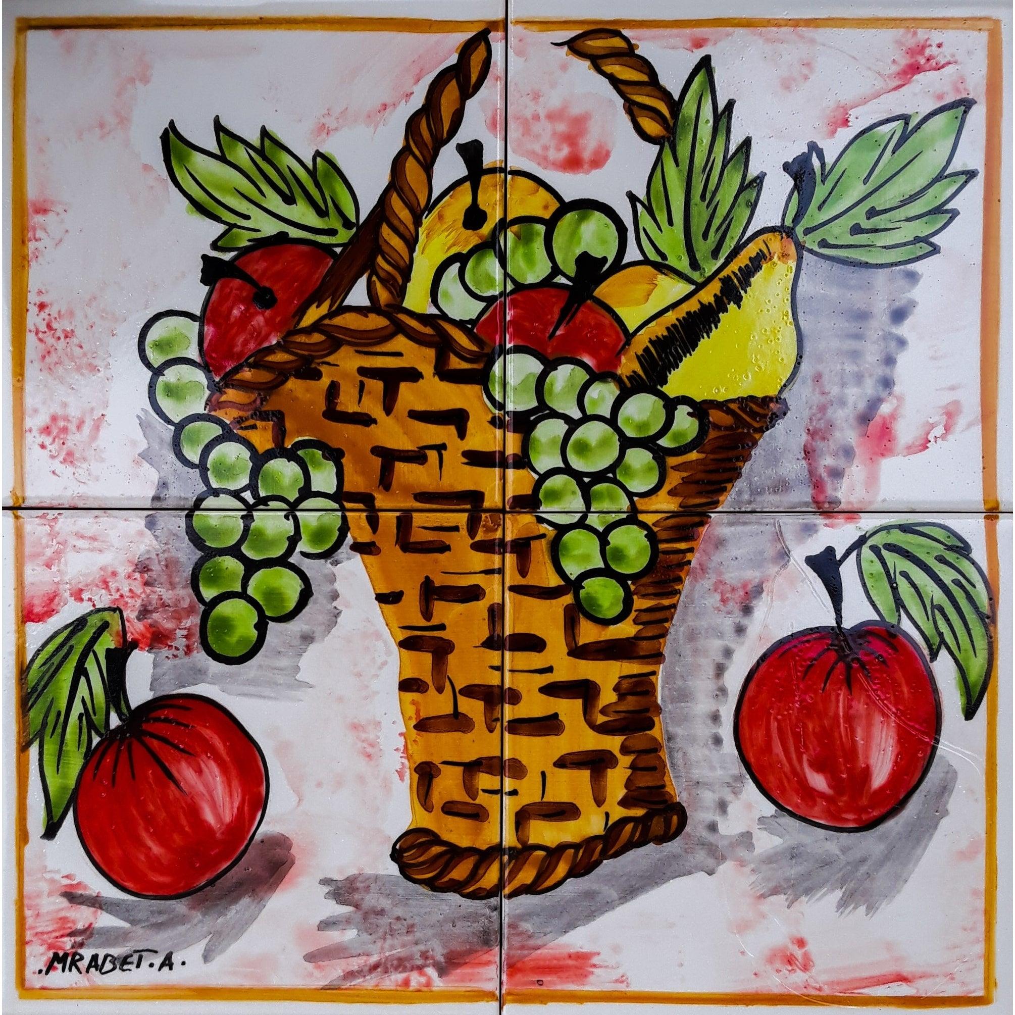 Mosaic Kitchen Backsplash Fruit Basket 4 Tile Ceramic Wall Mural