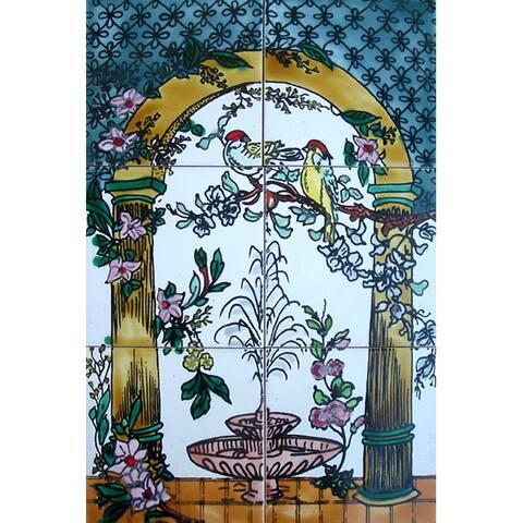 Mosaic 'Golden Arch' 6-tile Ceramic Wall Mural
