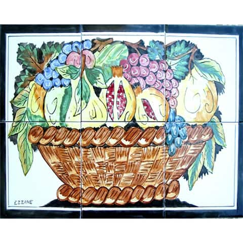 Decorative Kitchen Backsplash Multi-fruit Basket 6 Tile Ceramic Wall Mural