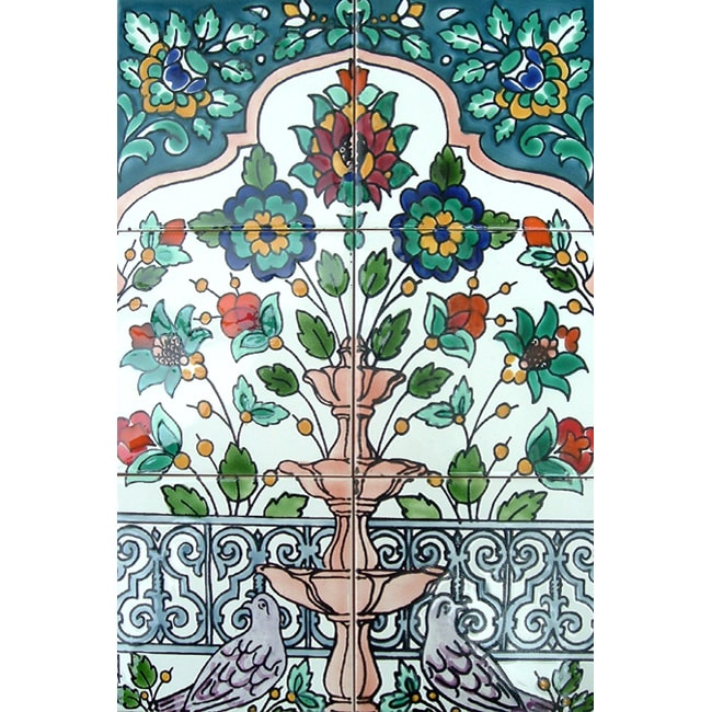 Floral fountain doves 6 tile ceramic wall mural free for Ceramic wall mural