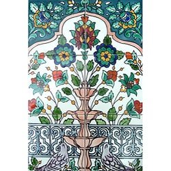Floral Fountain Doves 6-tile Ceramic Wall Mural