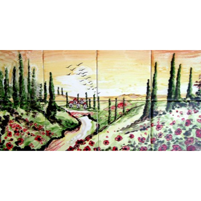 landscape tuscany view 8 tile ceramic wall mural free mosaic peacock ceramic 36 tile mural 11600678