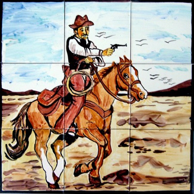 Mosaic 'Wild West Theme' 9-tile Ceramic Wall Mural