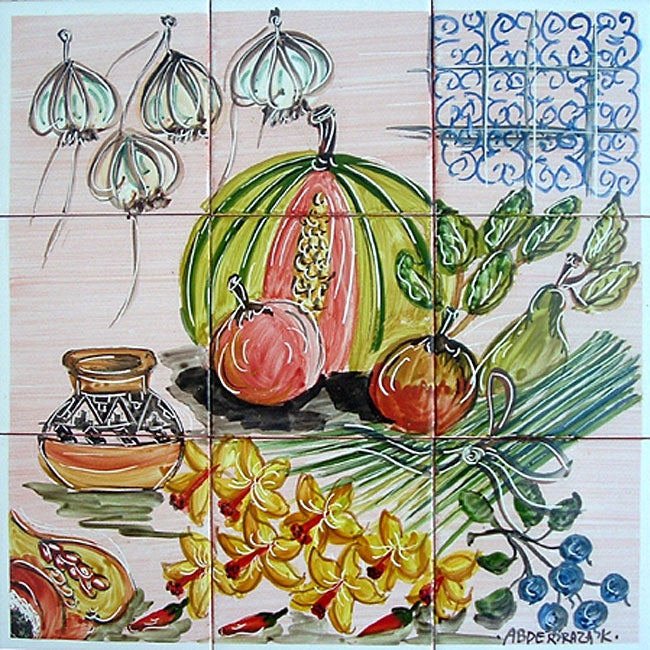 Kitchen fruit theme 9 tile ceramic wall mural free for Ceramic wall mural