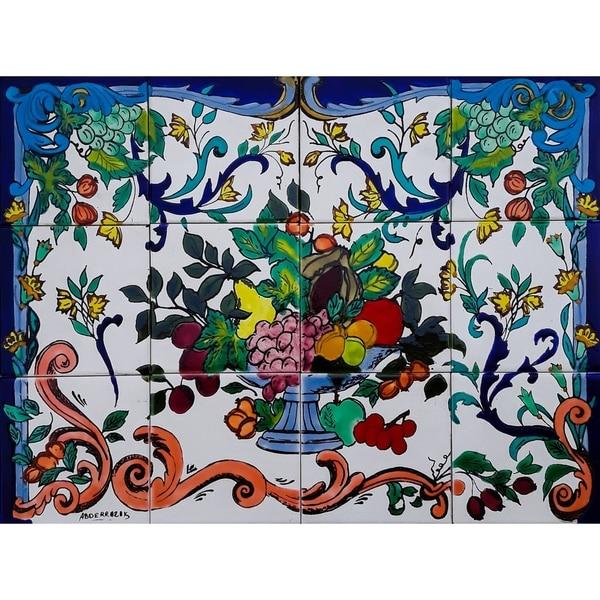 'Fruit Urn' 12-tile Ceramic Wall Mural Art. Opens flyout.