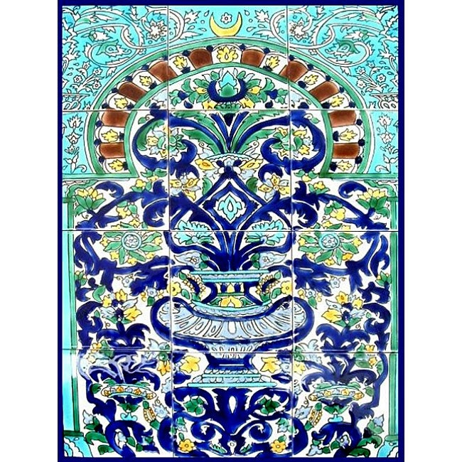 'Arabesque Floral Arch' 12-tile Ceramic Wall Mural Art