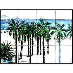 Mosaic 'Palm Beach View' 12-tile Ceramic Wall Mural