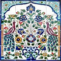 Mosaic 'Antique-looking Peacock' 16-tile Ceramic Wall Mural