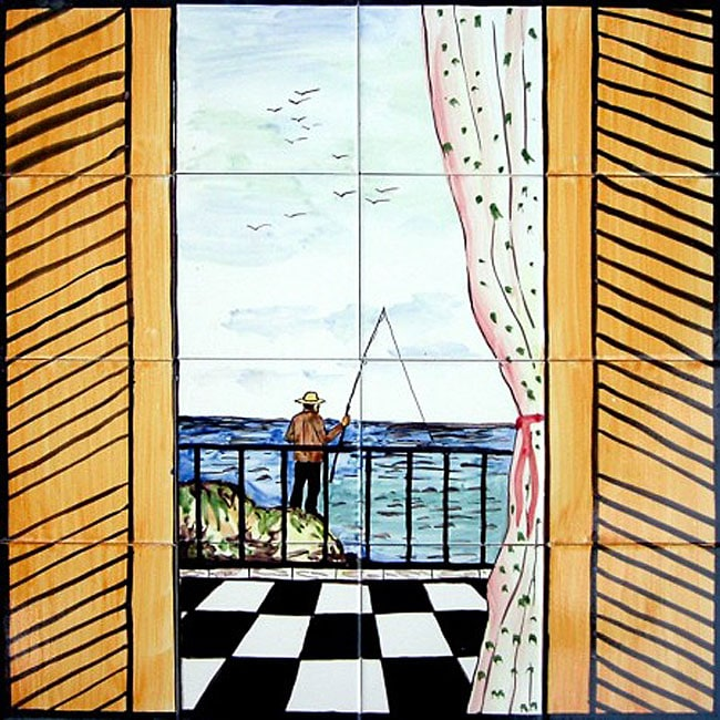 Mosaic 39 balcony fishing scene 39 16 tile ceramic wall mural for Balcony wall tiles