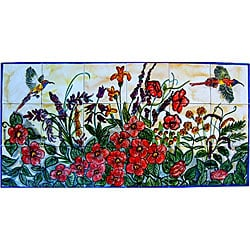 Mosaic 'Floral Garden Birds' 18-tile Ceramic Wall Mural Art