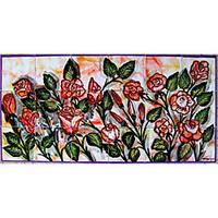 Mosaic 'Red Garden Flowers' 18-tile Ceramic Wall Mural Art