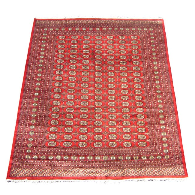 Herat Oriental Hand Tufted Wool Red Black Area Rug: Herat Oriental Pakistan Hand-knotted Bokhara Red/ Ivory