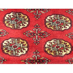 Herat Oriental Pakistan Hand-knotted Bokhara Red/ Ivory Wool Runner (2'7 x 8')
