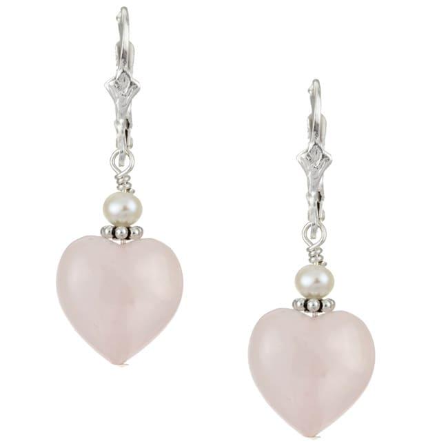 Lola's Jewelry Sterling Silver Rose Quartz Heart Earrings
