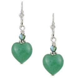 Lola's Jewelry Sterling Silver Green Aventurine Heart Earrings