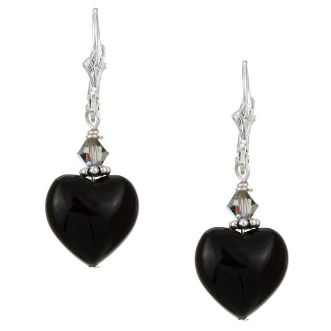 Lola's Jewelry Sterling Silver Black Onyx Heart Earrings