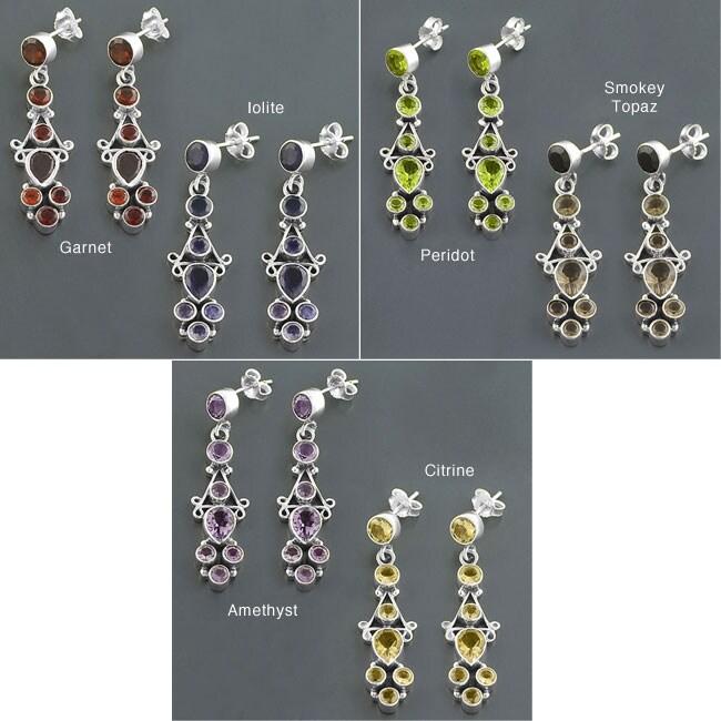 Sterling Silver Gemstone Dangle Earrings (India)
