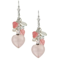 Charming Life Sterling Silver Rose Quartz Heart Charm Fringe Earrings