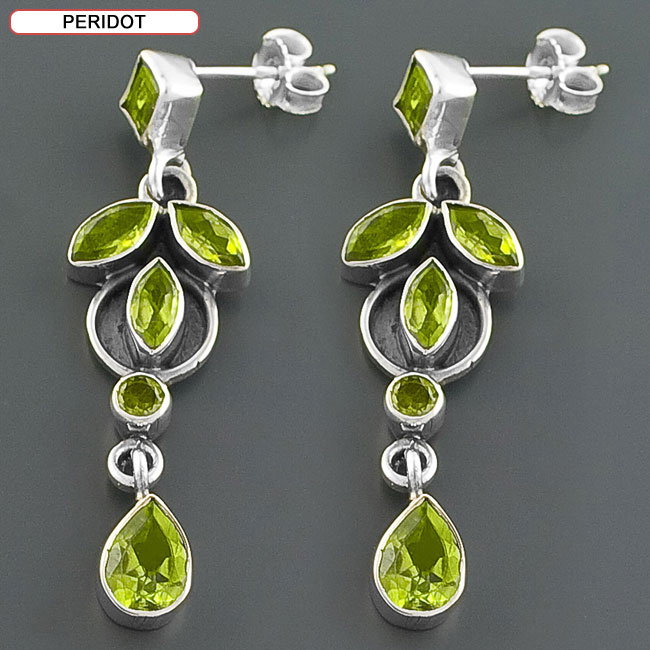 Sterling Silver Gemstone Drop Earrings (India) - Thumbnail 0