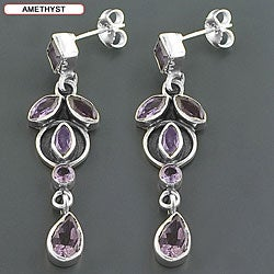 Sterling Silver Gemstone Drop Earrings (India) - Thumbnail 1