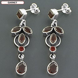 Sterling Silver Gemstone Drop Earrings (India) - Thumbnail 2