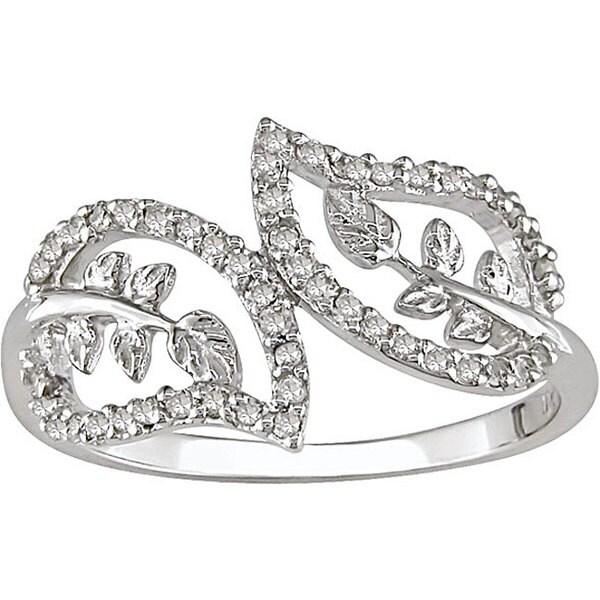 10k White Gold 1/5ct TDW Diamond Double-leaf Ring