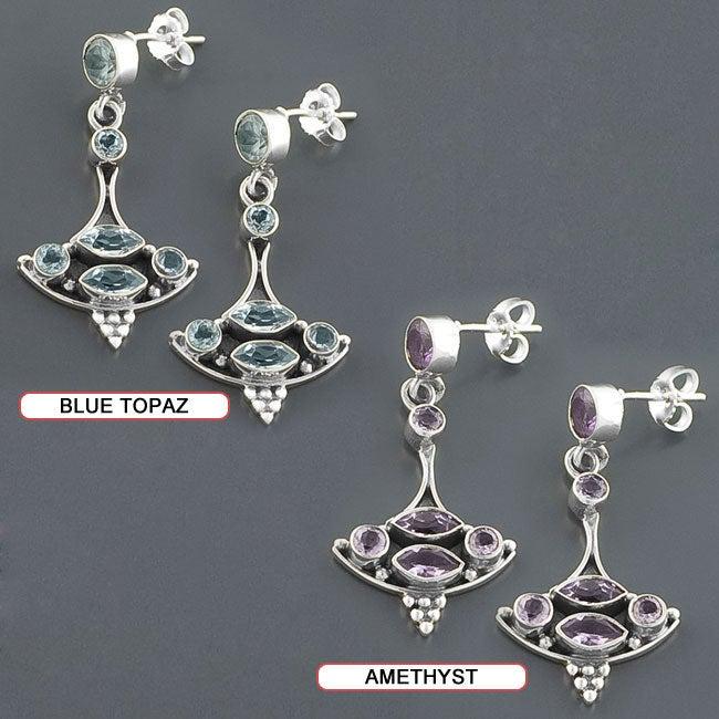 Sterling Silver Gemstone Dangle Boat Earrings (India)