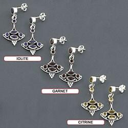 Sterling Silver Gemstone Dangle Boat Earrings (India) - Thumbnail 1