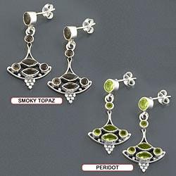 Sterling Silver Gemstone Dangle Boat Earrings (India) - Thumbnail 2